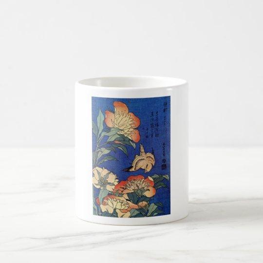 Flores e um pássaro caneca de café