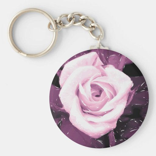 Flores elegantes de rosa porta-chaves chaveiro