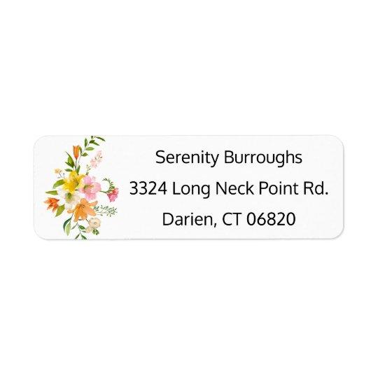 Flores florais do lírio - cor-de-rosa, casamento etiqueta endereço de retorno