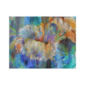Flores no azul impressão de canvas esticadas