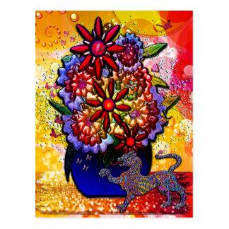 Flores no vaso dos azuis cobaltos na chuva & nas cartão postal