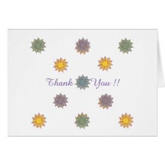 Flores, obrigado, amarelo, roxo, azul, verde cartão de nota