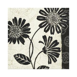 Flores preto e branco 2 impressão em canvas