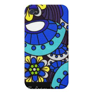 Flores retros azuis iPhone4 iPhone 4 Capas