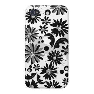 Flores retros do inverno em B&W iPhone 4 Capa