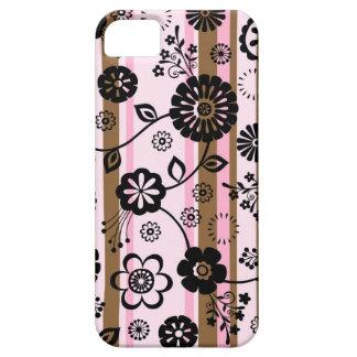 Flores retros e listras capa barely there para iPhone 5
