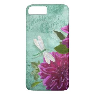 Flores roxas da dália da placa de comensal de w da capa iPhone 8 plus/7 plus