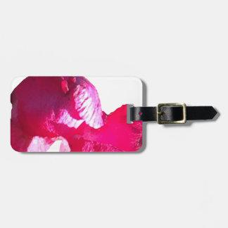 Flores roxas do botão do rosa do rosa etiqueta de bagagem