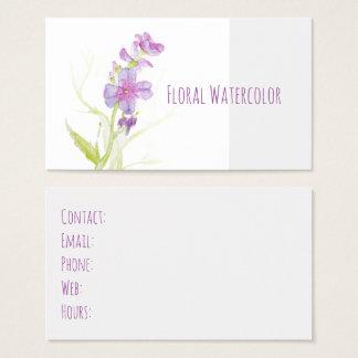 Flores roxas dos Wildflowers da aguarela floral Cartão De Visitas