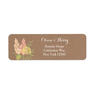Flores rústicas do país - etiqueta do casamento de etiqueta endereço de retorno