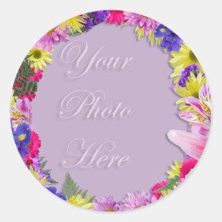 Flores tropicais moldura para retrato, casamento adesivo