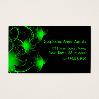 Flores verde-clara de Swirly no cartão de visita