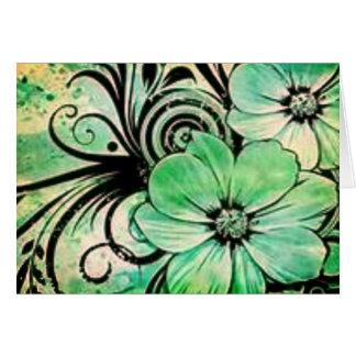 Flores verdes desvanecidas cartão comemorativo