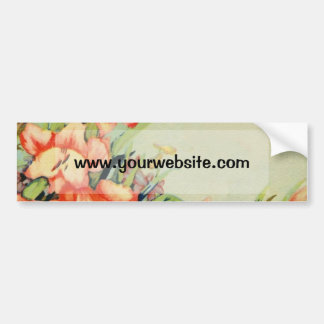 Flores verdes do rosa do fundo adesivo para carro