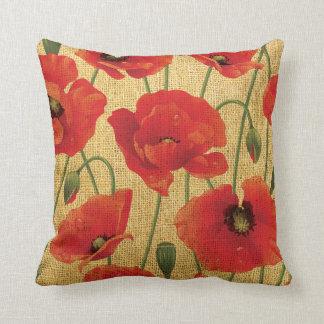 Flores vermelhas da papoila almofada