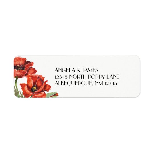 Flores vermelhas da papoila da aguarela etiqueta endereço de retorno