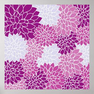Flores violetas abstractas pôster