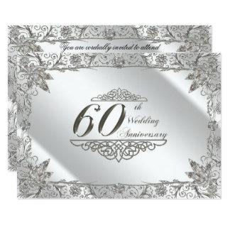 Floresça o 60th aniversário de casamento do convite 12.7 x 17.78cm