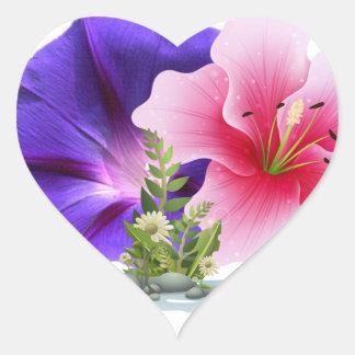 floresce etiquetas adesivo coração