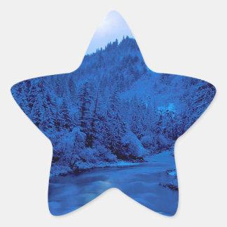 Floresta clara de Scott Klamath da lua do rio Adesivo Em Forma De Estrela
