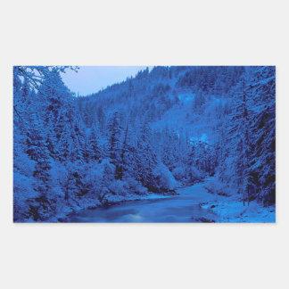 Floresta clara de Scott Klamath da lua do rio Adesivo Em Formato Retângular