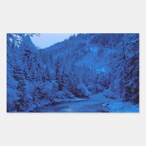 Floresta clara de Scott Klamath da lua do rio Adesivo Retangular