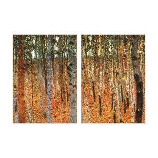 Floresta da faia pelo painel do dobro das belas impressão em tela