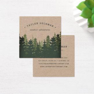 Floresta | Kraft do pinho Cartão De Visitas Quadrado