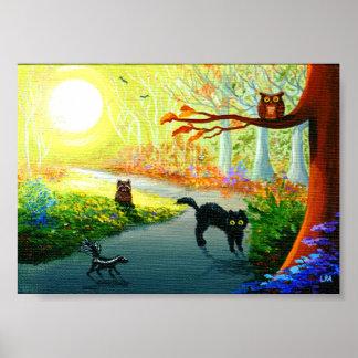 Floresta lunática engraçada do guaxinim da poster