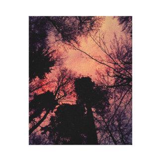 Floresta vermelha impressão em canvas