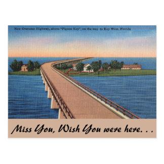 Florida, chave do pombo, estrada ultramarina cartão postal