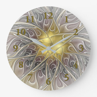 Flourish com arte abstrata e moderna do ouro do relógio grande