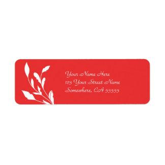 Flourish vermelho do endereço do remetente Label// Etiqueta Endereço De Retorno