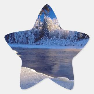 Fluxo do gelo do rio da natureza adesivos em forma de estrelas