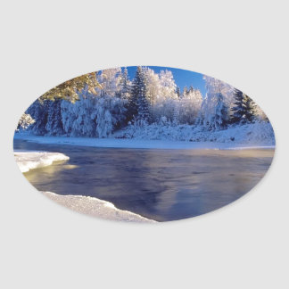 Fluxo do gelo do rio da natureza adesivos ovais