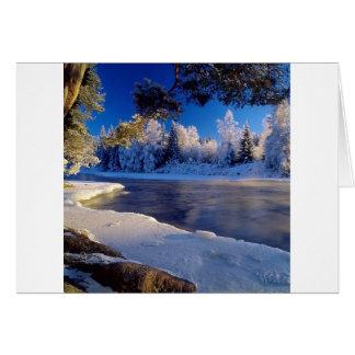 Fluxo do gelo do rio da natureza cartao
