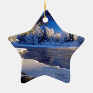 Fluxo do gelo do rio da natureza enfeites para arvore de natal