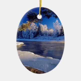 Fluxo do gelo do rio da natureza enfeites