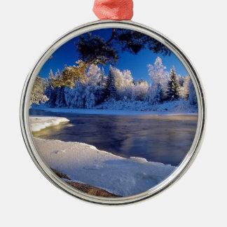 Fluxo do gelo do rio da natureza ornamento para arvore de natal