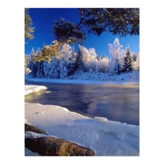 Fluxo do gelo do rio da natureza papel de carta