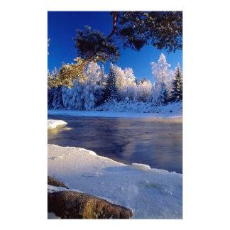 Fluxo do gelo do rio da natureza papel personalizados
