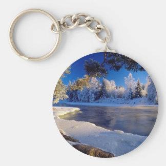 Fluxo do gelo do rio da natureza chaveiro