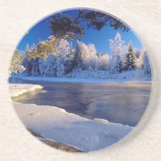 Fluxo do gelo do rio da natureza porta-copo