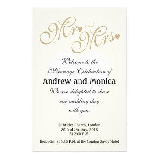 Flyer A cerimónia de casamento elegante do ouro programa