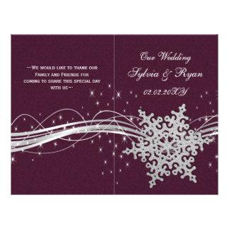 Flyer flocos de neve de prata cor-de-rosa que wedding os