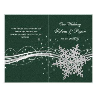 Flyer flocos de neve de prata verdes que wedding os
