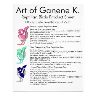 Flyer Folha 1 do produto dos pássaros do Reptilian
