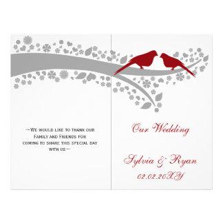 Flyer lovebirds vermelhos irrisórios programa Wedding