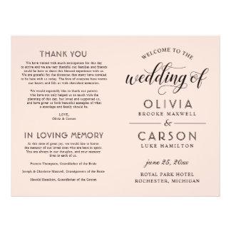 Flyer O programa   da cerimónia de casamento cora rosa