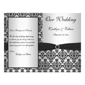 Flyer Programa de prata e preto do casamento tema